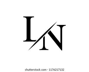 The monogram logo letter LN is sliced