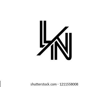 The monogram logo letter LN is sliced black