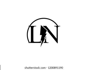 The monogram logo letter LN is split by lightning