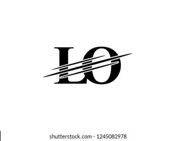 The monogram logo letter LO is sliced black