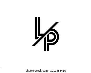 The monogram logo letter LP is sliced black
