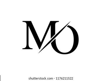 The monogram logo letter MO is sliced