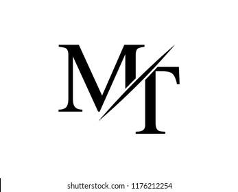 The monogram logo letter MT is sliced