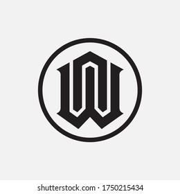 Monogram logo letter N, W, WN or NW modern, simple, sporty, black color on white background