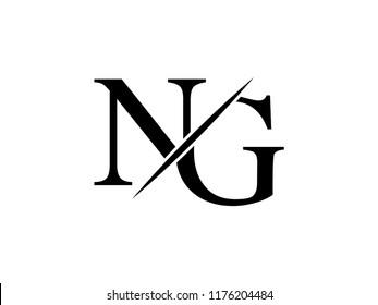 The monogram logo letter NG is sliced