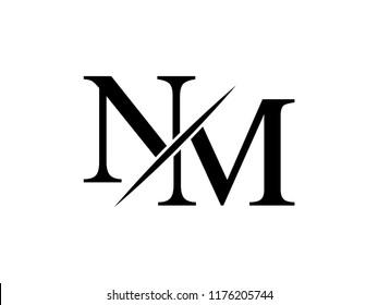 The monogram logo letter NM is sliced