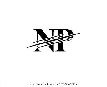 The monogram logo letter NP is sliced black