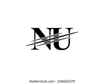 The monogram logo letter NU is sliced black