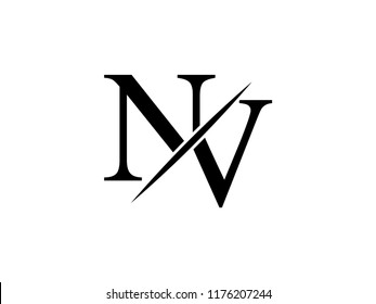 The monogram logo letter NV is sliced