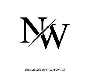 The monogram logo letter NW is sliced