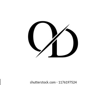 The monogram logo letter OD is sliced