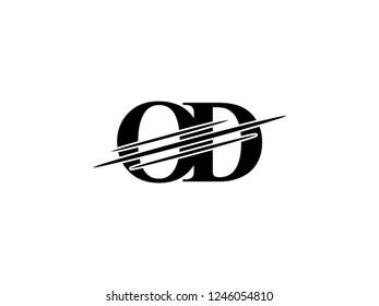 The monogram logo letter OD is sliced black