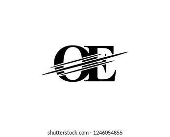 The monogram logo letter OE is sliced black