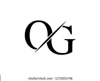 The monogram logo letter OG is sliced
