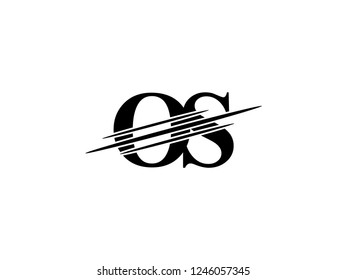 The monogram logo letter OS is sliced black