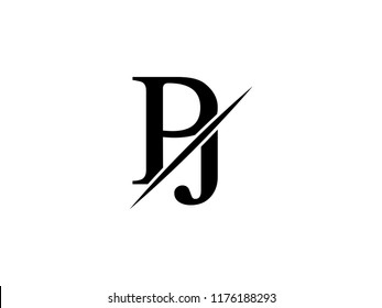 The monogram logo letter PJ is sliced