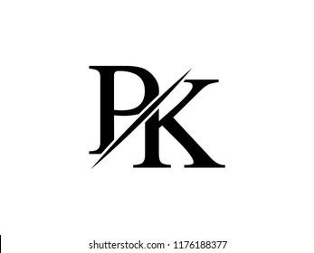 The monogram logo letter PK is sliced