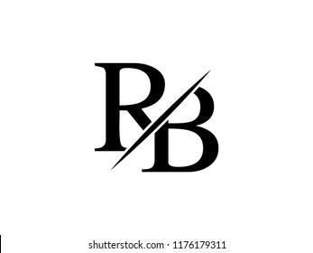 The monogram logo letter RB is sliced