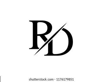 The monogram logo letter RD is sliced