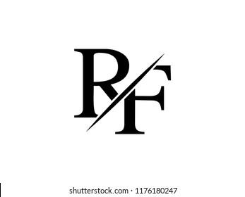 The monogram logo letter RF is sliced