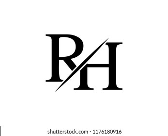 The monogram logo letter RH is sliced
