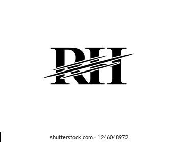 The monogram logo letter RH is sliced black
