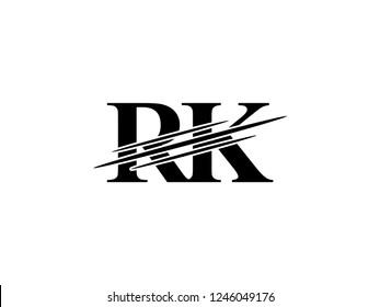 The monogram logo letter RK is sliced black