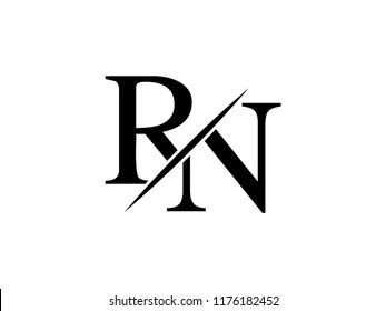 The monogram logo letter RN is sliced