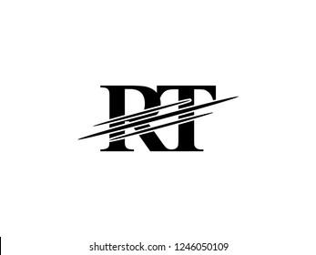 The monogram logo letter RT is sliced black