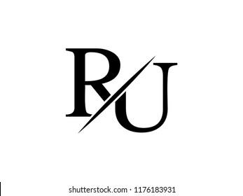 The monogram logo letter RU is sliced