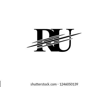 The monogram logo letter RU is sliced black