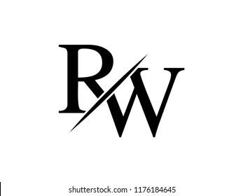 The monogram logo letter RW is sliced