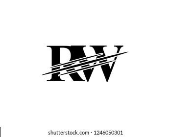 The monogram logo letter RW is sliced black