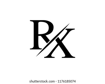 The monogram logo letter RX is sliced