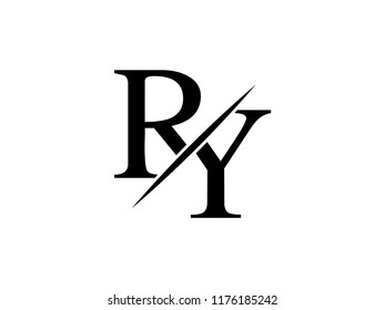 The monogram logo letter RY is sliced