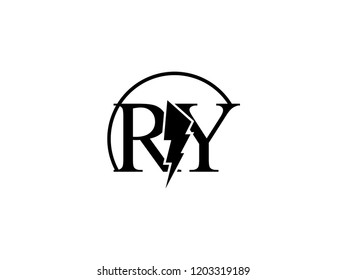 The monogram logo letter RY is split by lightning