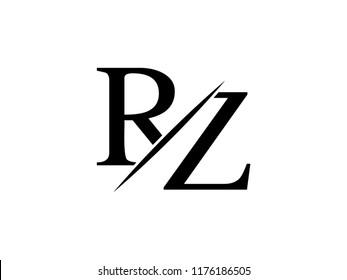 The monogram logo letter RZ is sliced