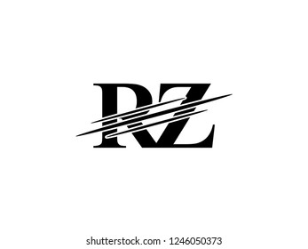 The monogram logo letter RZ is sliced black