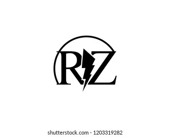 The monogram logo letter RZ is split by lightning