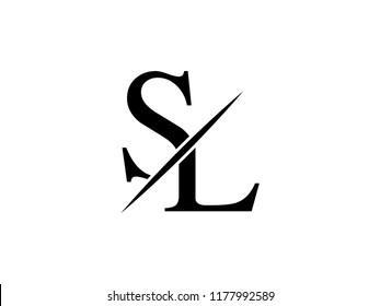 The monogram logo letter SL is sliced