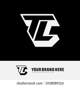 Monogram logo letter T, L, TL or LT `modern, simple, sporty, black and white color on black background