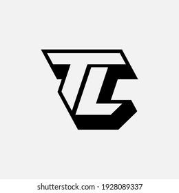 Monogram logo letter T, L, TL or LT `modern, simple, sporty, black and white color on white background