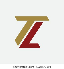 Monogram logo letter T, L, TL or LT `modern, simple, sporty, red and gold color on white background