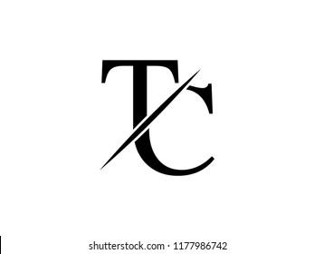 The monogram logo letter TC is sliced