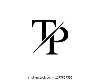 The monogram logo letter TP is sliced