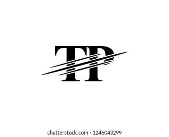 The monogram logo letter TP is sliced black