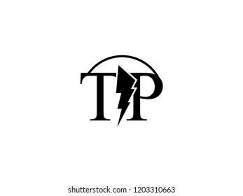 The monogram logo letter TP is split by lightning