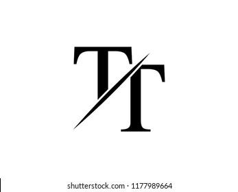 The monogram logo letter TT is sliced