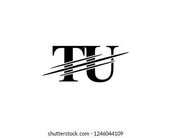 The monogram logo letter TU is sliced black