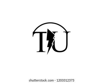 The monogram logo letter TU is split by lightning